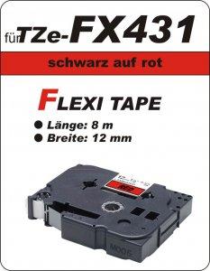 schwarz auf rot - 100% TZe-FX431 (12 mm) komp.