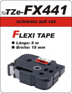 schwarz auf rot - 100% TZe-FX441 (18 mm) komp.
