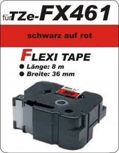 schwarz auf rot - 100% TZe-FX461 (36 mm) komp.