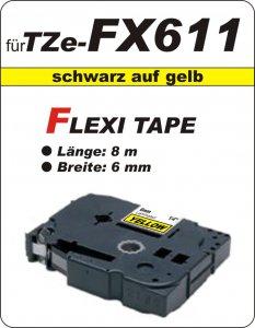 schwarz auf gelb - 100% TZe-FX611 (6 mm) komp.