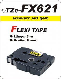 schwarz auf gelb - 100% TZe-FX621 (9 mm) komp.