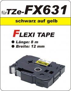 schwarz auf gelb - 100% TZe-FX631 (12 mm) komp.