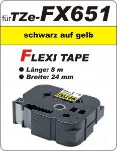schwarz auf gelb - 100% TZe-FX651 (24 mm) komp.