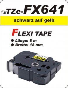 schwarz auf gelb - 100% TZe-FX641 (18 mm) komp.