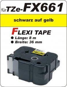 schwarz auf gelb - 100% TZe-FX661 (36 mm) komp.