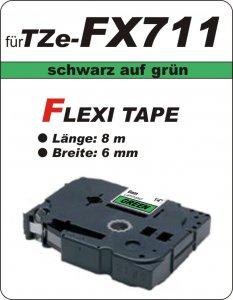 schwarz auf grün - 100% TZe-FX711 (6 mm) komp.
