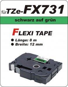 schwarz auf grün - 100% TZe-FX731 (12 mm) komp.