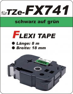 schwarz auf grün - 100% TZe-FX741 (18 mm) komp.