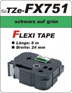 schwarz auf grün - 100% TZe-FX751 (24 mm) komp.