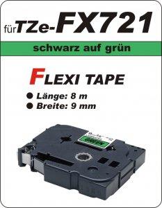 schwarz auf grün - 100% TZe-FX721 (9 mm) komp.