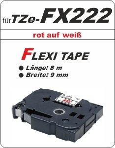 rot auf weiß - 100% TZe-FX222 (9 mm) komp.