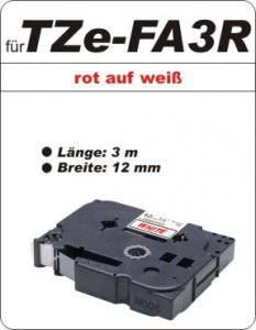 rot auf weiß - 100% TZe-FA3R (12 mm) komp.