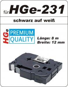 schwarz auf weiß - 100% HGe-231 (12 mm) komp.