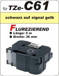 schwarz auf signalgelb - 100% TZe-C61 (36 mm) komp.