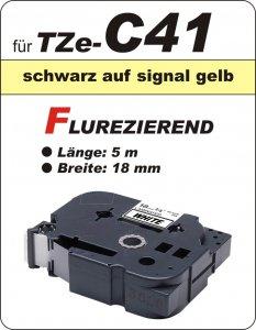 schwarz auf signalgelb - 100% TZe-C41 (18 mm) komp.