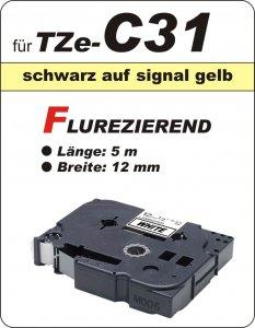 schwarz auf signalgelb - 100% TZe-C31 (12 mm) komp.