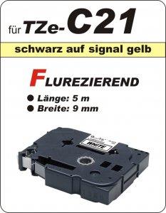 schwarz auf signalgelb - 100% TZe-C21 (9 mm) komp.