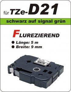 schwarz auf signalgrün - 100% TZe-D21 (9 mm) komp.