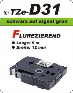 schwarz auf signalgrün - 100% TZe-D31 (12 mm) komp.