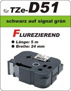 schwarz auf signalgrün - 100% TZe-D51 (24 mm) komp.