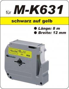 schwarz auf gelb - 100% M-K631 (12 mm) komp.