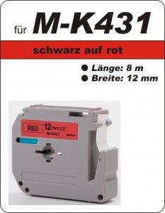 schwarz auf rot - 100% M-K431 (12 mm) komp.