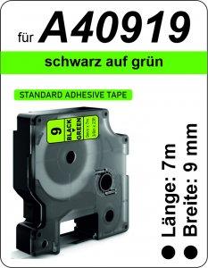 schwarz auf grün  - (9 mm)