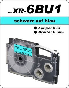 schwarz auf blau - ( 6 mm)