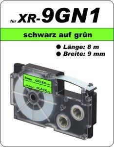 schwarz auf grün - ( 9 mm)