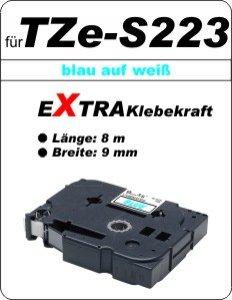 blau auf weiß - 100% TZe-S221 (9 mm) komp.