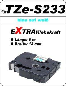 blau auf weiß - 100% TZe-S233 (12 mm) komp.