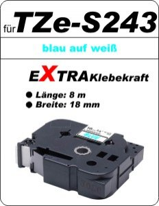 blau auf weiß - 100% TZe-S243 (18 mm) komp.