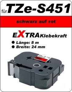 schwarz auf rot - 100% TZe-S451 (24 mm) komp.