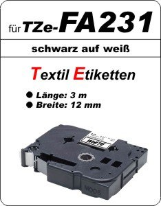 schwarz auf weiß - 100% TZe-FA231 (12 mm) komp.