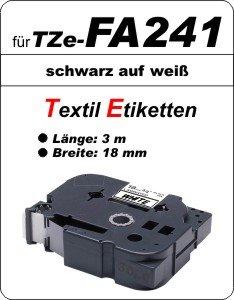 schwarz auf weiß - 100% TZe-FA241 (18 mm) komp.
