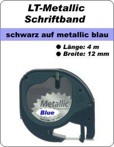 schwarz auf metalllic blau - (12 mm)