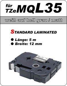 weiß auf hell grau (matt) - 100% TZeMQ-L35 (12 mm) komp.