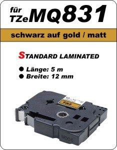 schwarz auf gold (matt) - 100% TZeMQ831 (12 mm) komp.