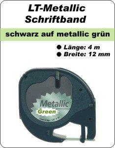 schwarz auf metalllic grün - (12 mm)