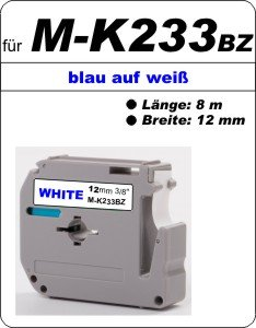 blau auf weiß - 100% M-K 233 BZ (12 mm) komp.