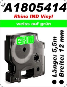 weiß auf grün - (12mm) 100% IND A1805414 komp.