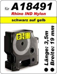 schwarz auf gelb - (19mm) 100% IND A18491 komp.