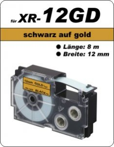 schwarz auf gold - ( 12 mm)