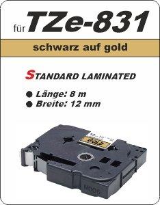 schwarz auf gold - 100% TZe-831 (12 mm) komp.