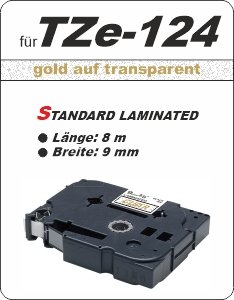 gold auf transparent - 100% TZe-124 (9 mm) komp.