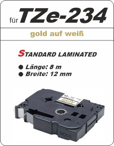 gold auf weiß - 100% TZe-234 (12 mm) komp.