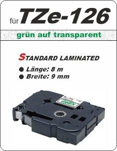 grün auf transparent - 100% TZe-126 (9 mm) komp.