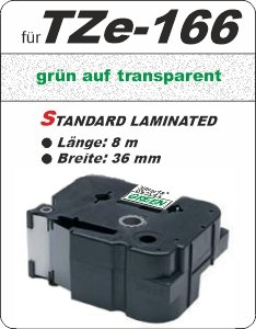 grün auf transparent - 100% TZe-166 (36 mm) komp.