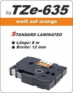 weiß auf orange - 100% TZe-635 (12 mm) komp.
