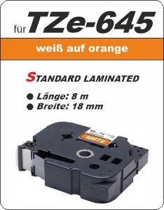 weiß auf orange - 100% TZe-645 (18 mm) komp.